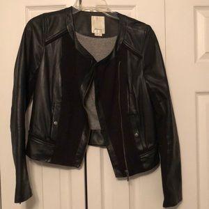 Leather & jersey paneled jacket
